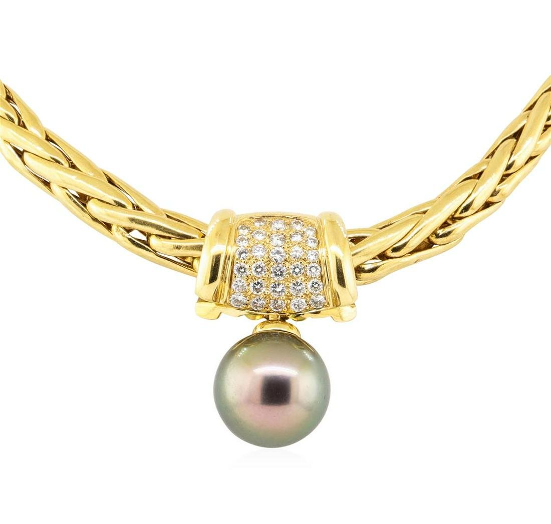 0.50 ctw Diamond and Pearl Pendant And Chain - 18KT