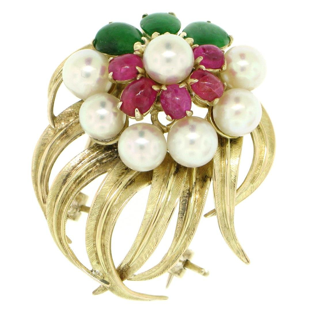 14K Yellow Gold 2.36 ctw Cabochon Ruby Jade 5mm Pearl