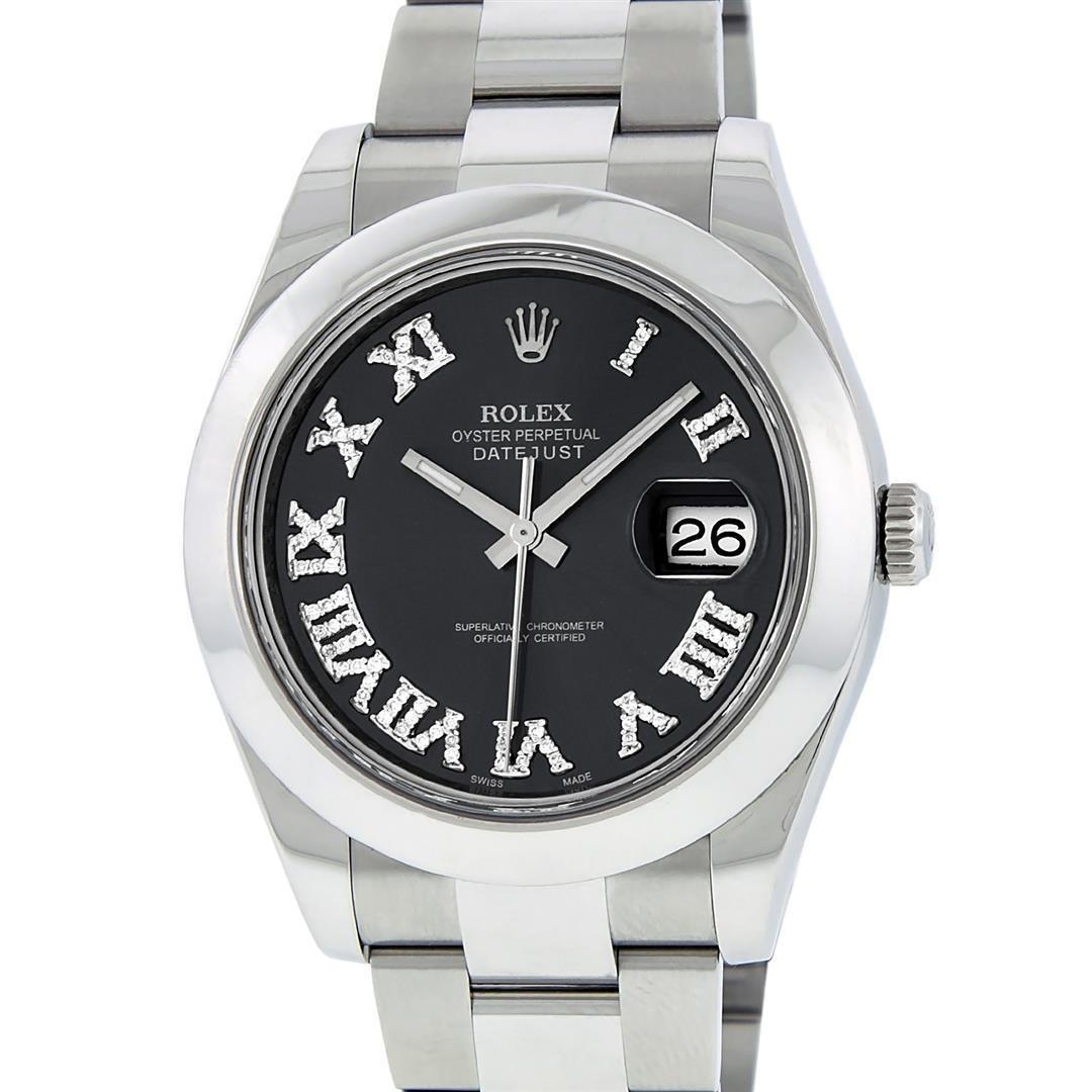 Rolex Mens SS 41MM Slate Roman Diamond Datejust 2
