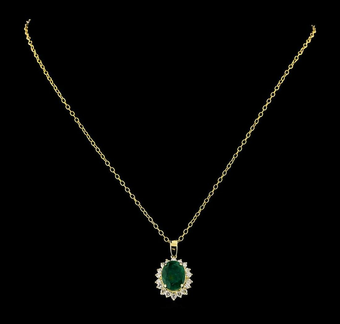 4.38 ctw Emerald and Diamond Pendant With Chain - 14KT