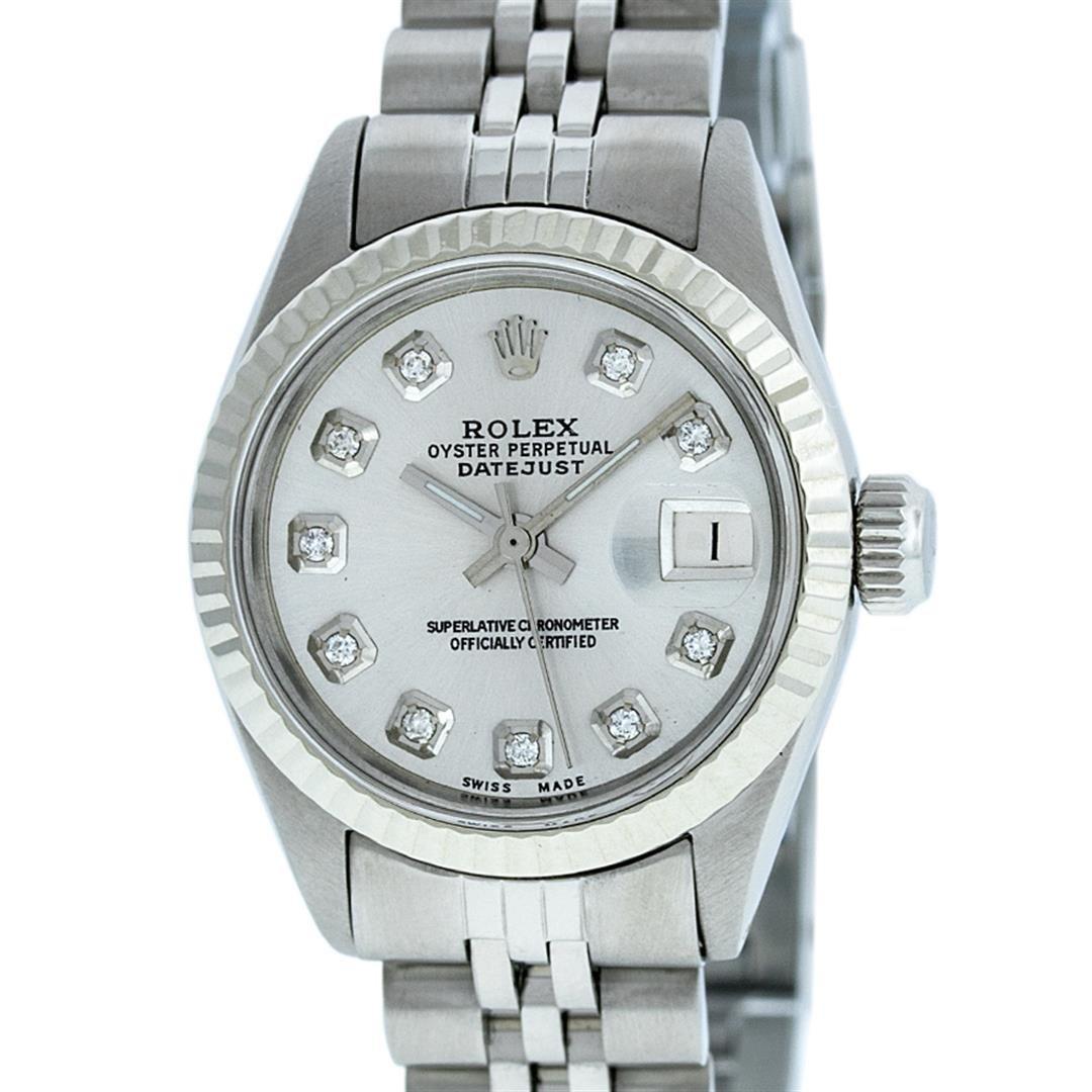 Rolex Ladies Stainless Steel Silver Diamond 26MM