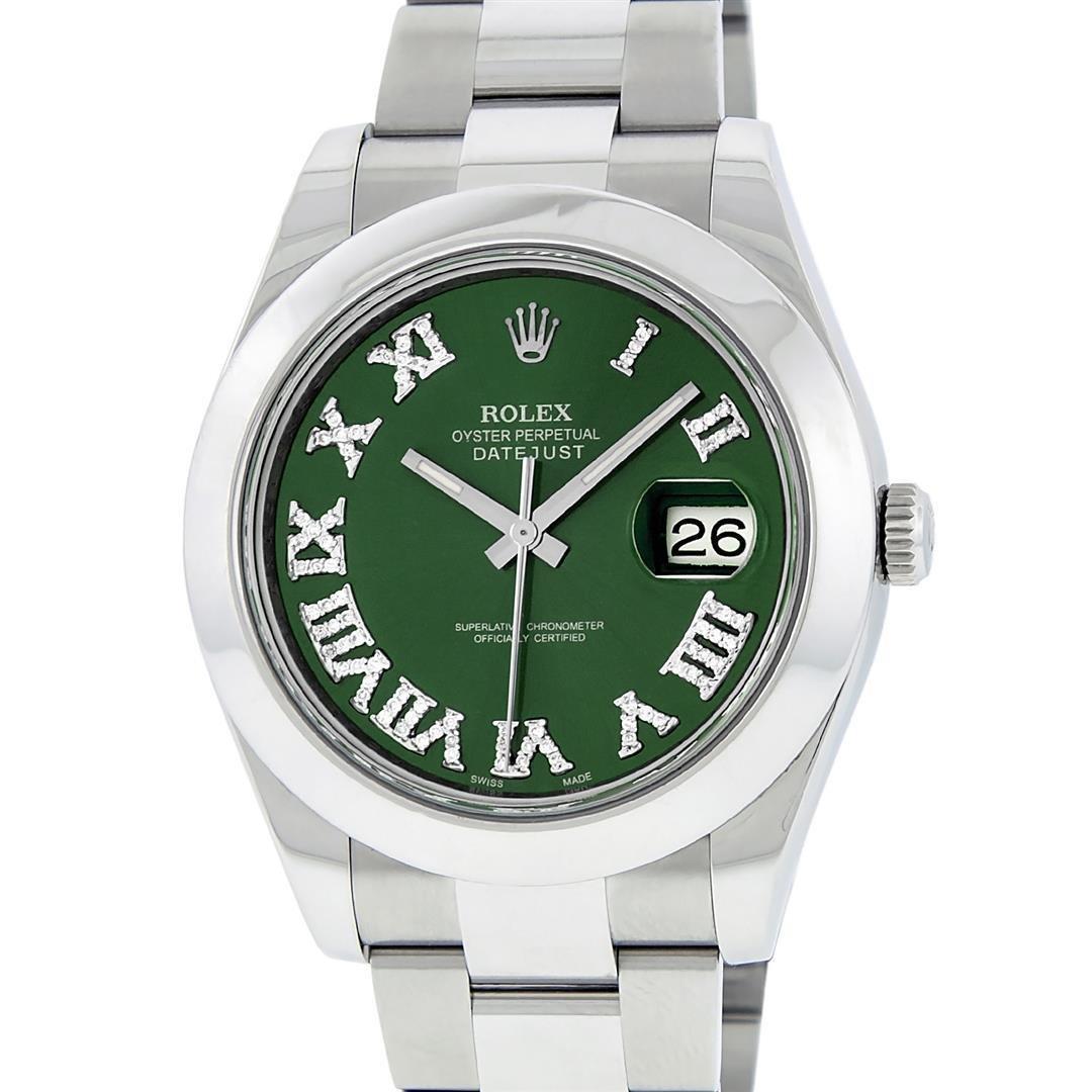 Rolex Mens SS 41MM Green Roman Diamond Datejust 2