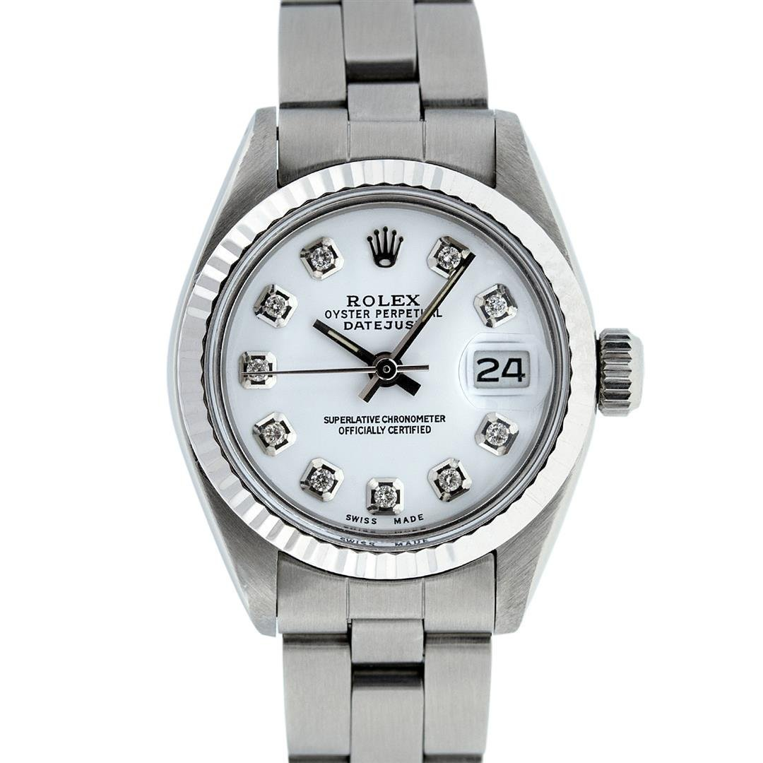 Rolex Ladies Stainless Steel White Diamond 26MM Oyster