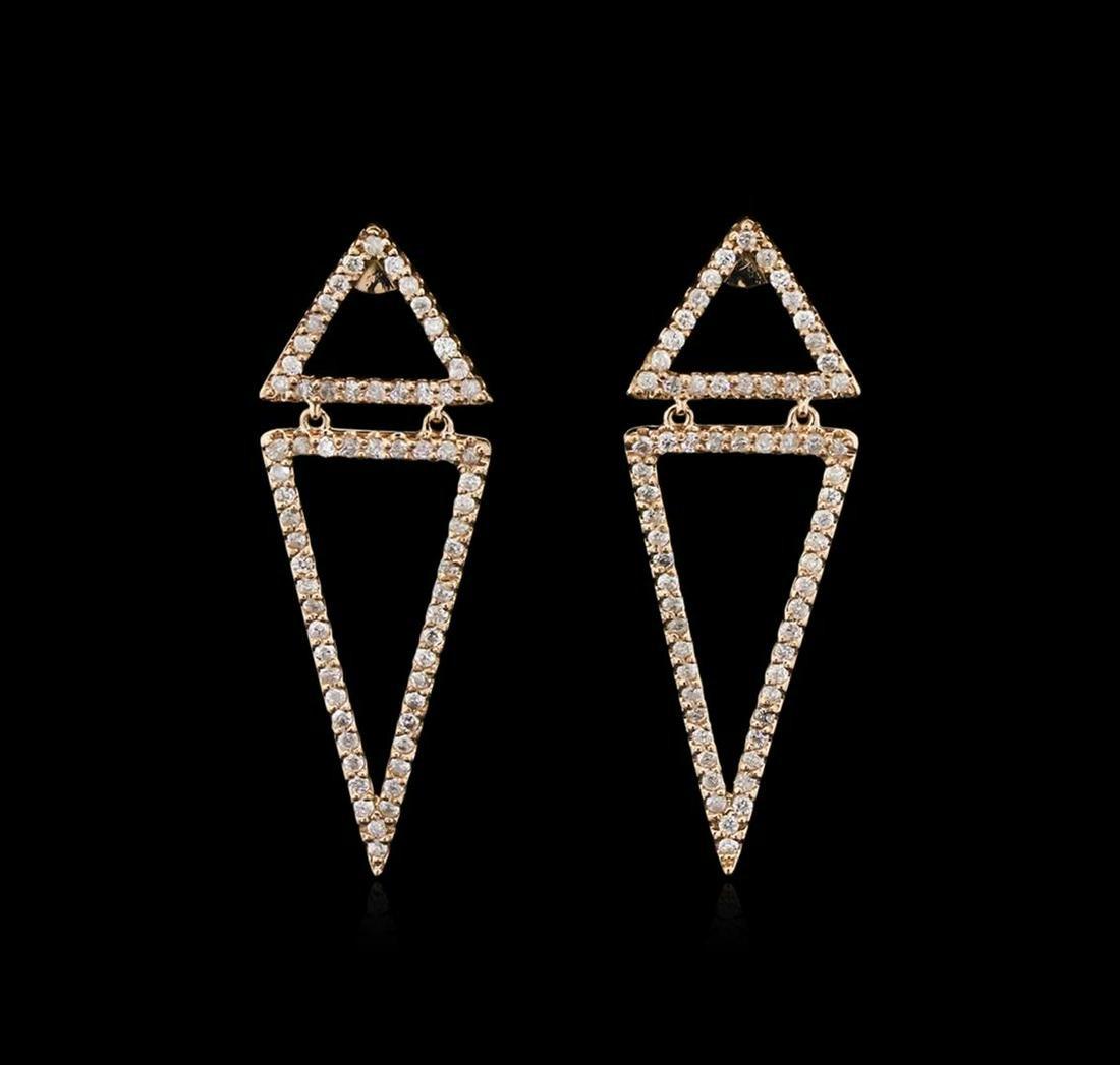 0.90 ctw Diamond Earrings - 14KT Rose Gold