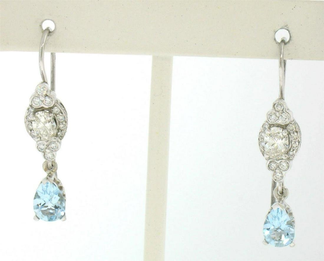 18K Solid White Gold Dangle Drop Earrings w/ an Oval