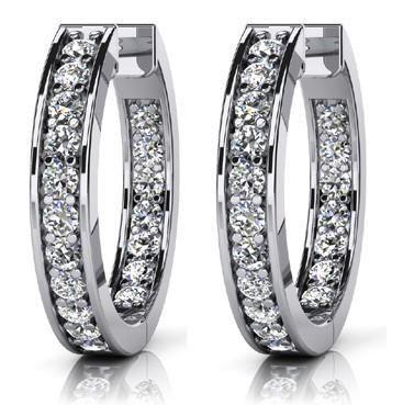 14k White Gold 0.75CTW Diamond Earrings, (VS/F-G)