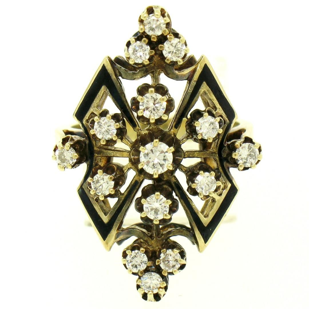 14k Yellow Gold .90 ctw Round Diamond Black Enamel
