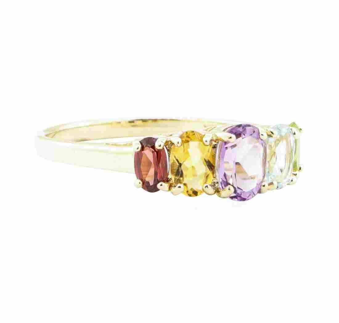 3.00 ctw Rainbow-Colored Gemstone Ring - 10KT Yellow