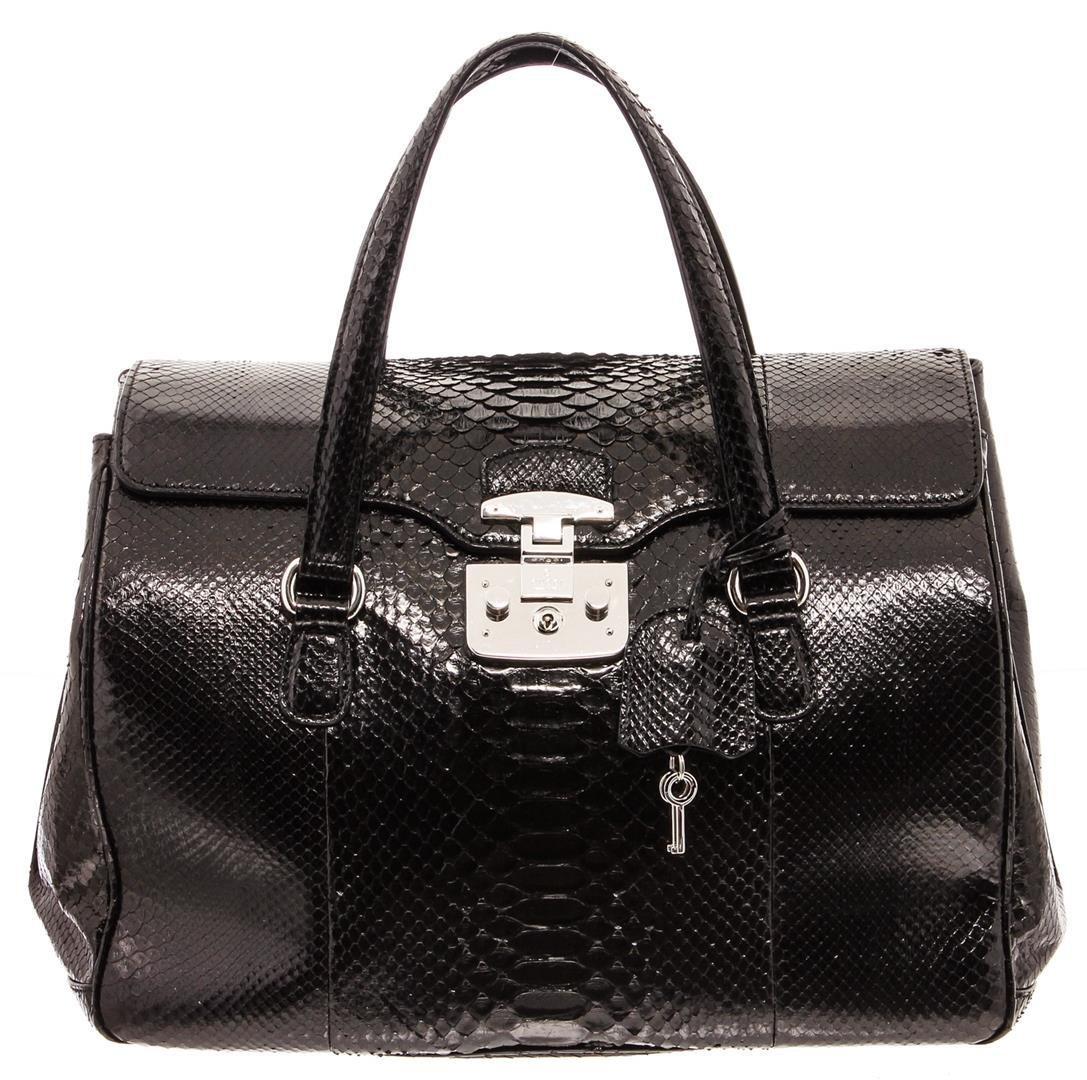 Gucci Black Snakeskin Lady Lock Top Handle Tote