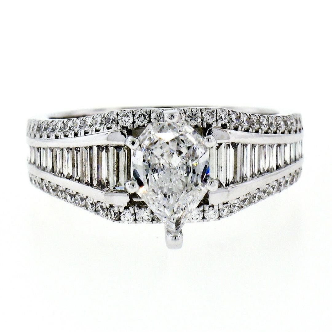 New 14kt White Gold 2.33 ctw GIA Certified Pear Cut