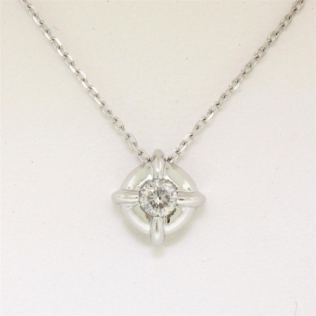 14kt White Gold 0.20 ctw Diamond Solitaire Pendant