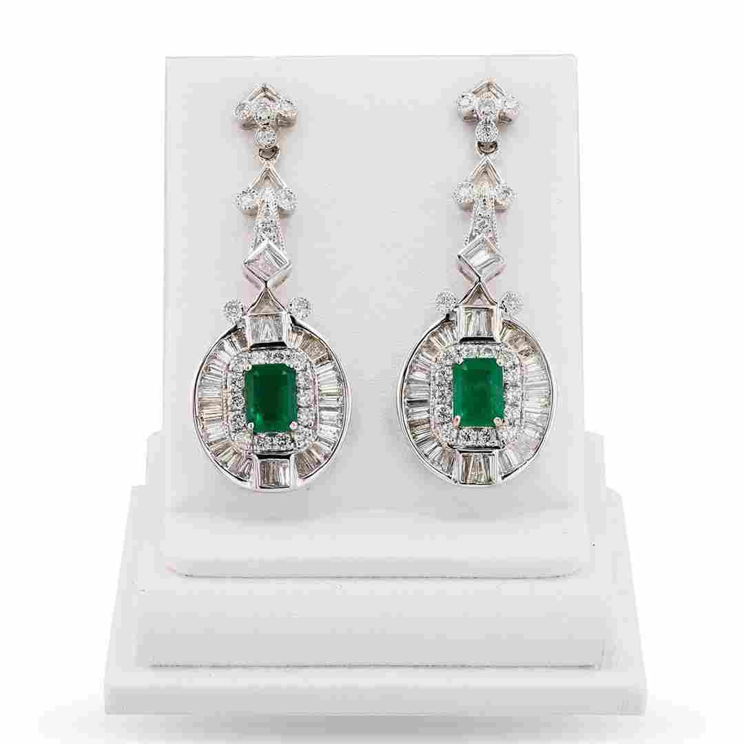 2.25 ctw Emerald and 2.55 ctw Diamond 14K White Gold