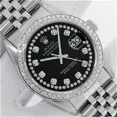 Rolex Mens Stainless Steel Black String Diamond 36MM