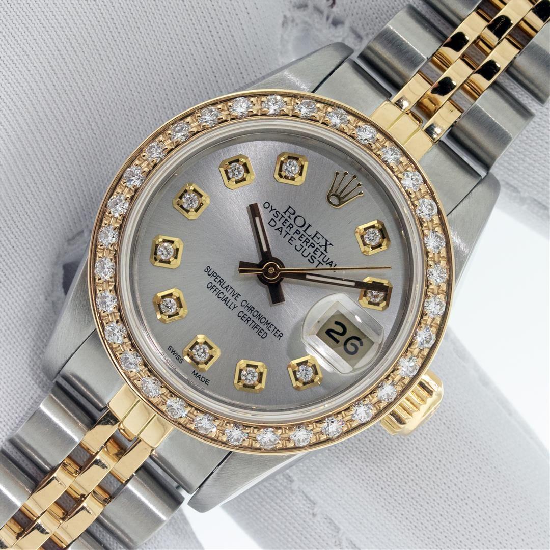 Rolex Ladies 2 Tone Silver Diamond Datejust Wristwatch