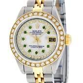 Rolex Ladies 2 Tone MOP Emerald String Diamond Datejust