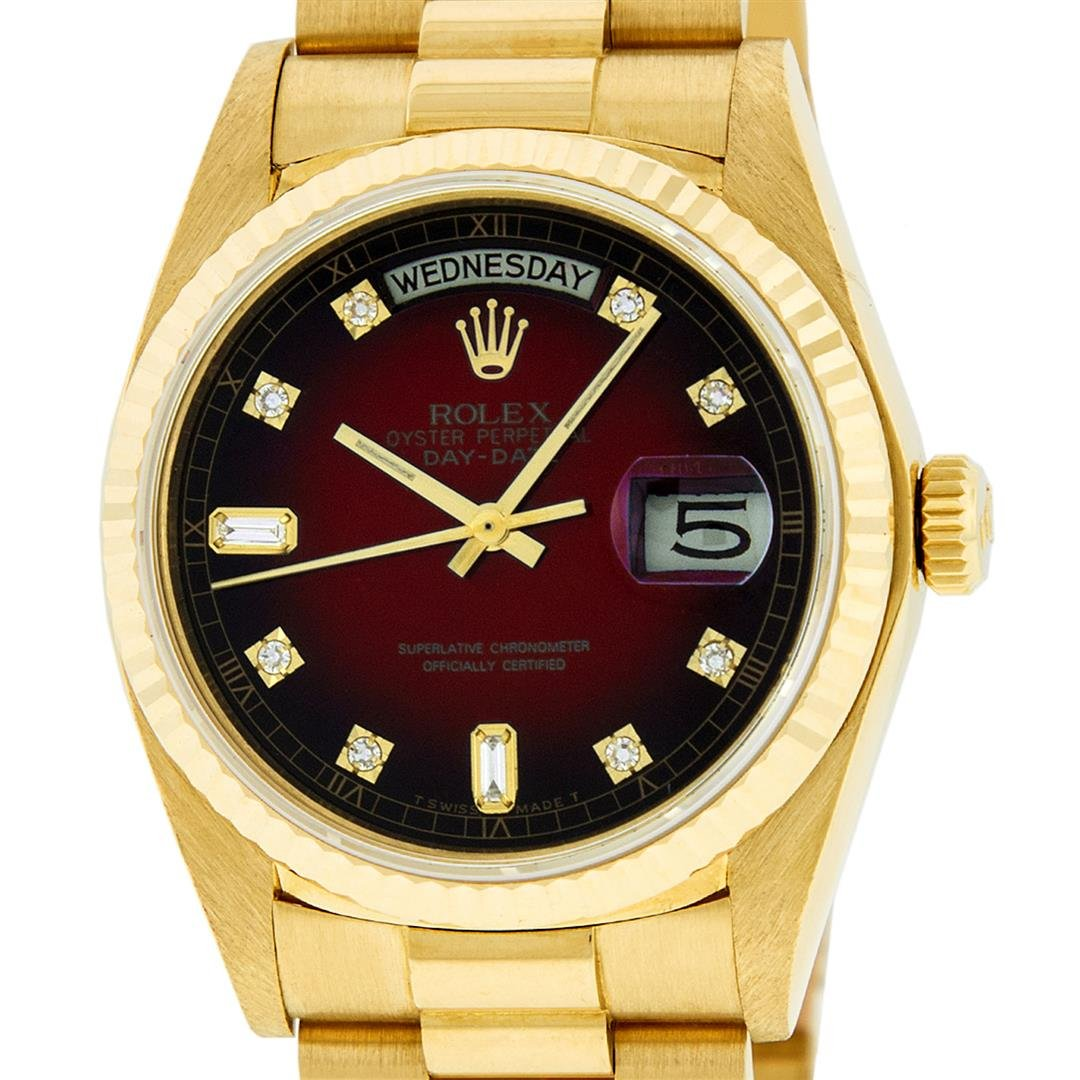 Rolex Mens 18K Yellow Gold Red Vignette Diamond