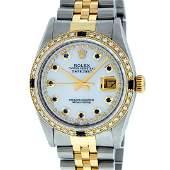 Rolex Mens 2 Tone Mother Of Pearl Diamond  Sapphire