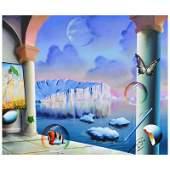 Ferjo Glacier View Original Painting on Canvas Hand