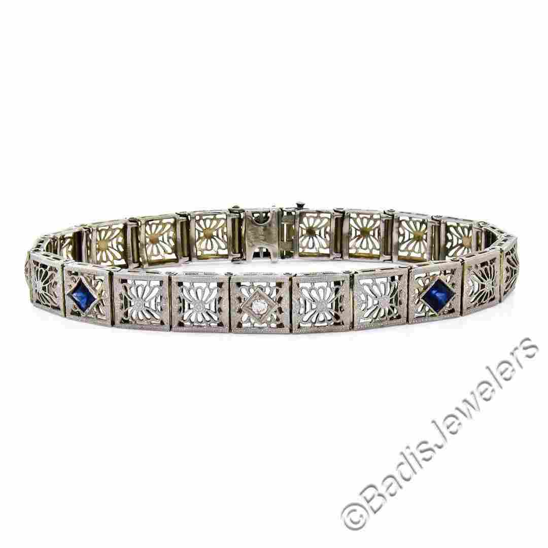 Art Deco Etched 14kt White Gold Diamond and Sapphire