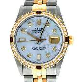 Rolex Mens 2T Mother Of Pearl Diamond  Ruby Datejust