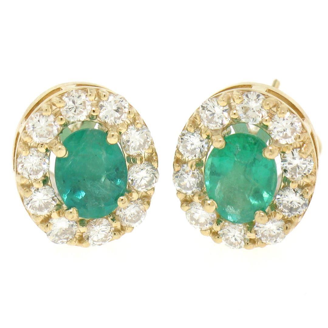 14k Yellow Gold 3.71 ctw Oval Emerald & Round Diamond