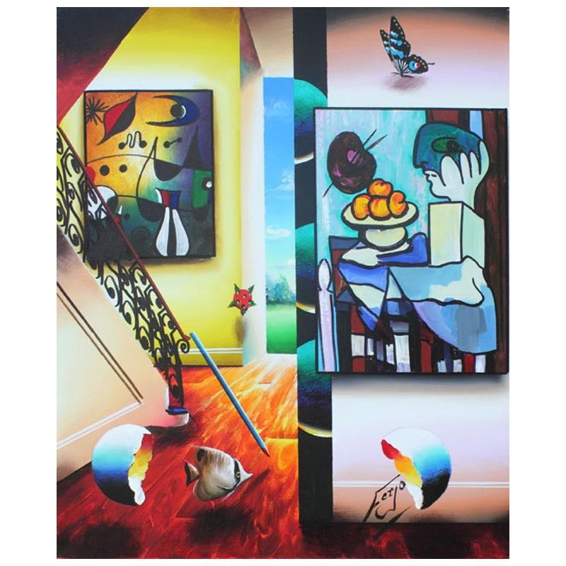 """Ferjo, """"Picassso and Fruit"""" Original Painting on"""
