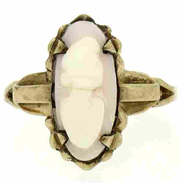 10k Yellow Gold Simple Petite Carved Pink Stone Cameo