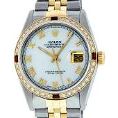Rolex Mens 2 Tone Mother Of Pearl Diamond  Ruby 36MM