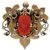 10k Gold Carved OX BLOOD Coral Cameo Seed Pearl Brooch