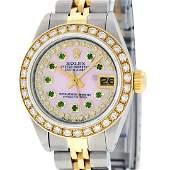 Rolex Ladies 2 Tone Pink MOP Emerald String Diamond