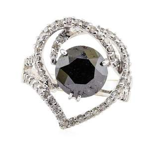 3.33 ctw Black Diamond and Diamond Ring - 18KT White