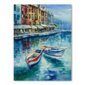 """Vadik Suljakov, """"Boats of Portofino"""" Original Oil"""