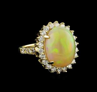 11.30 ctw Opal and Diamond Ring - 14KT Yellow Gold
