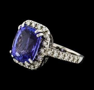 GIA Cert 9.36 ctw Tanzanite and Diamond Ring - 14KT