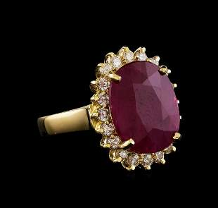 GIA Cert 6.96 ctw Ruby and Diamond Ring - 14KT Yellow