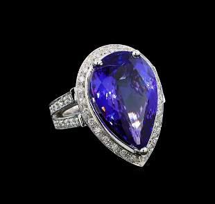 GIA Cert 13.42 ctw Tanzanite and Diamond Ring - 14KT