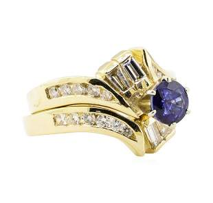 1.61 ctw Blue Sapphire And Diamond Ring And Band - 14KT