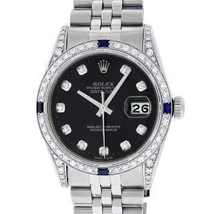 Rolex Mens Stainless Steel Diamond Lugs Black Diamond &
