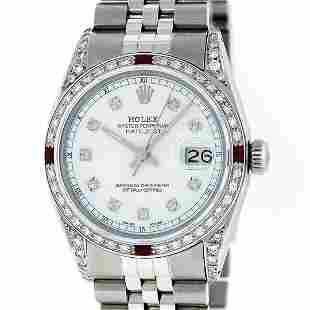 Rolex Mens Stainless Steel Diamond Lugs & Ruby Datejust