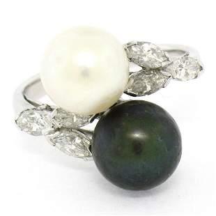 Solid Platinum Tahitian Black White Pearl Marquise