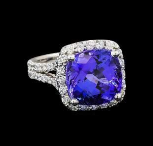 GIA Cert 9.06 ctw Tanzanite and Diamond Ring - 14KT