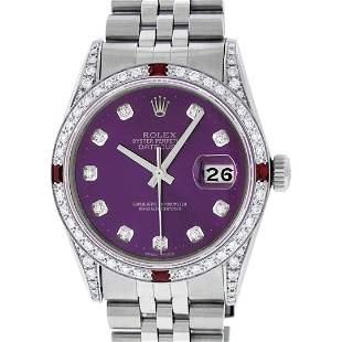 Rolex Mens Stainless Steel Diamond Lugs Purple Diamond