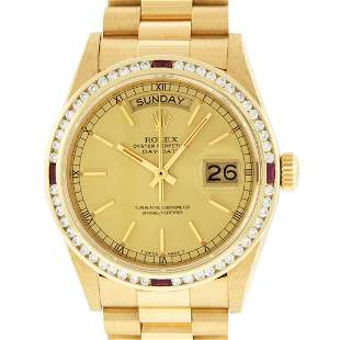 Rolex Mens 18K Yellow Gold Champagne Index & Ruby