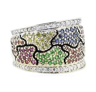 1.64 ctw Multi-colored Gemstone and Diamond Wide Band -