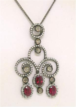 18k Black Gold 4.39 ctw Rose Diamond & Blood Ruby