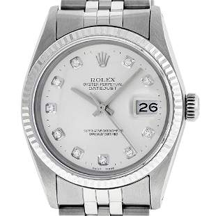 Rolex Mens Stainless Silver Diamond 36MM Datejust