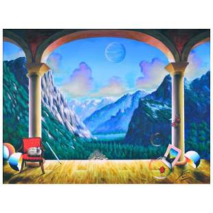 "Ferjo, ""Switzerland View"" Original Painting on Canvas,"