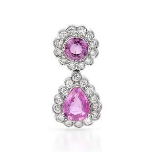 14k White Gold 2.24CTW Pink Sapphire and Diamond