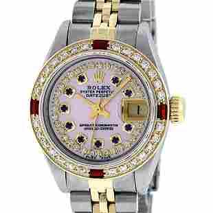 Rolex Ladies 2 Tone Pink MOP Sapphire & Ruby 26MM