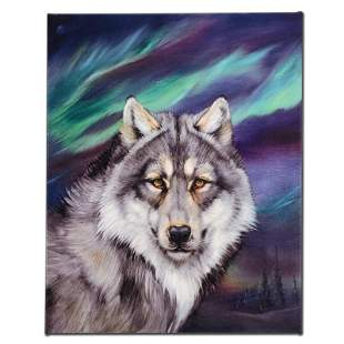 """Wolf Lights II"" Limited Edition Giclee on Canvas by"